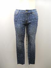 Buy Womens Distressed Jeans Size 12 Medium Wash Star Print Skinny Legs Inseam 28