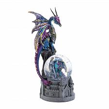Buy *17950U - Purple Blue Dragon Castle Glittering Snow Globe Stature Figure