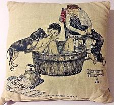 """Buy Norman Rockwell A LICKIN' GOOD BATH 16"""" Toss Pillow NWOT"""