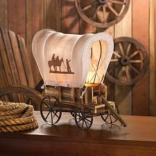 Buy *15679U - Western Wood Covered Wagon Table Lamp Cowboy Silhouette Shade