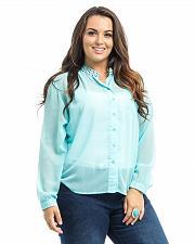 Buy Women Top Sheer Chiffon PLUS SIZE 1X 2X 3X ROMAN Long Sleeves Studded Collar