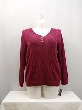 Buy Women Sweater Cable Knit Henley PLUS SIZE 0X KAREN SCOTT Burgundy Long Sleeves