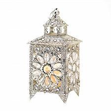Buy 15226U - Crown Jewels Silver Iron Acrylic Candle Lantern