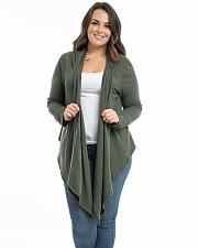 Buy Women Cardigan Size 1XL 3XL Style Up Olive Long Sleeves Open Neck Wrap Hooded