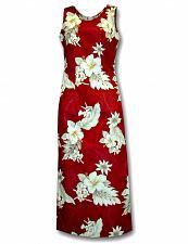 Buy Ladies Red Long Hawaiian Cocktail Dress Lanai Design #321-3162 sz: L