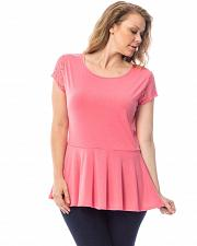 Buy Women Peplum Top SIZE 1X Solid Pink Lace Back Short Sleeves Scoop Neck ROMAN