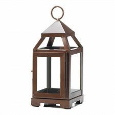 "Buy *18085U - Copper Metal 8 3/4"" Contemporary Pillar Candle Lantern Clear Glass"