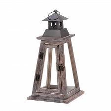 Buy *17536U - Elevate Brown Wooden Pillar Candle Lantern