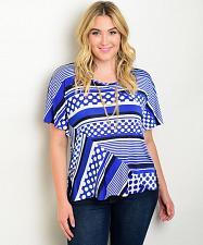 Buy Knit Top Women Plus Size 1XL Blue Stripes Polka Dots Batwings Essential