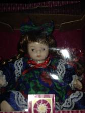 Buy Porcelain doll with Blue green red dress with hair bow Li'l porcelain petite