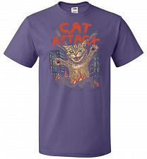 Buy Cat Attack Unisex T-Shirt Pop Culture Graphic Tee (3XL/Purple) Humor Funny Nerdy Geek