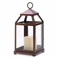 Buy 14126U - Bronze Contemporary Iron Pillar Candle Lantern Glass Panels
