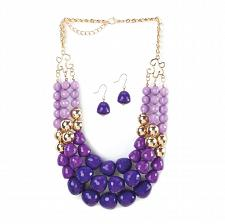 "Buy *16111U - Radiant Orchid Beads 18"" Necklace & Hookback Earrings Jewelry Set"