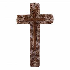 Buy 33603U - Rustic Carved Look Resin Cross Wall Plaque