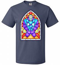 Buy Apocolypse Stained Glass Unisex T-Shirt Pop Culture Graphic Tee (4XL/Denim) Humor Fun