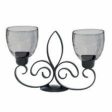 Buy *17609U - Fleur De Lis Black Iron Candle Stand Smoke Glass Cups