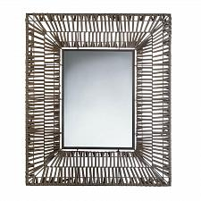 Buy *17893U - Faux Rattan Brown Rectangular Wall Mirror