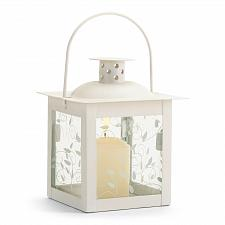 Buy 37440U - White Metal Vine Design Glass Panel Candle Lantern Small