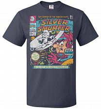 Buy Silver Smurfer Unisex T-Shirt Pop Culture Graphic Tee (2XL/J Navy) Humor Funny Nerdy