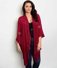 Buy Womens Wrap Swing Cardigan PLUS SIZE 1X Solid Red Bell Sleeves Asymmetrical Hem