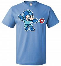Buy Mega Mario Unisex T-Shirt Pop Culture Graphic Tee (3XL/Columbia Blue) Humor Funny Ner