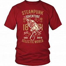 Buy Steampunk Adventure Adult Unisex T-Shirt Pop Culture Graphic Tee (Red/District Unisex
