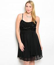 Buy Women Prom Dress Plus Size 2XL 3XL Solid Black Jeweled Party Formal Bridesmaid