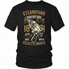 Buy Steampunk Adventure Adult Unisex T-Shirt Pop Culture Graphic Tee (Black/District Unis