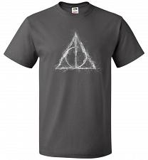 Buy Deathly Hollows Unisex T-Shirt Pop Culture Graphic Tee (3XL/Charcoal Grey) Humor Funn