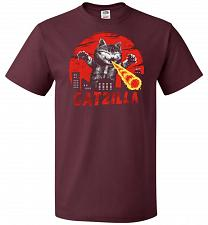 Buy Catzilla Unisex T-Shirt Pop Culture Graphic Tee (4XL/Maroon) Humor Funny Nerdy Geeky