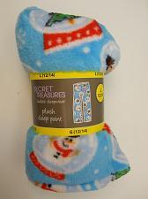 Buy Women Plush Pajama Bottoms CHRISTMAS SNOW GLOBE Blue Print SIZE L Straight Legs