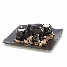 Buy 14587U - Elephant Figure Inlaid Silver Wood Plate Tea Light Candle Holder Set
