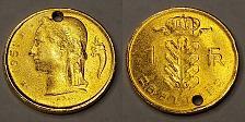 Buy Gold Plated 1951 Belgian Franc World Coin - Belgium - Holed