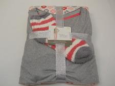 Buy Women 3PC Plush Pajama Sock Set Grey Floral Print SIZE L Long Sleeves Y-Neck