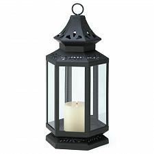 """Buy 13363U - Stagecoach Floral Cutwork Black 16"""" Iron Pillar Candle Lantern Glass"""