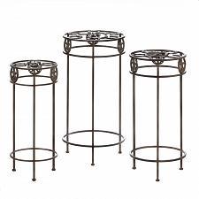 Buy *17001U - Lonestar Horseshoe Brown Cast Iron Plant Stand Trio