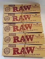 Buy 5X Packs of RAW King Size Slim CONNOISSEUR papers with TIPS Unbleached Natural