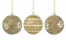 "Buy *17587U - Gold White Beaded 3"" Ball Tree Ornament 3pc Set"