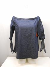 Buy Women Off Shoulder Top SIZE 2XL Dark Wash Denim Tied ¾ Sleeves Pullover Elastic