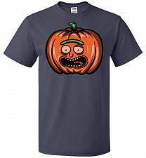 Buy Halloween Pumpkin Rick Adult Unisex T-Shirt Pop Culture Graphic Tee (L/J Navy) Humor