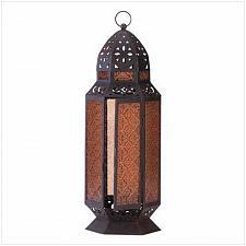 Buy 34691U - Moroccan Style Tall Metal Candle Lantern Amber Pattern Glass Panels