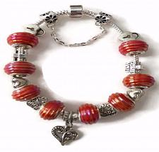 Buy Heart Love European Silver Charm Bracelet With Red Murano Beads