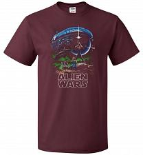 Buy Alien Wars Unisex T-Shirt Pop Culture Graphic Tee (2XL/Maroon) Humor Funny Nerdy Geek