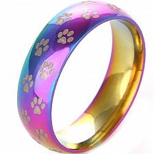 Buy coi Jewelry Tungsten Carbide Rainbow Color Ring With Paws