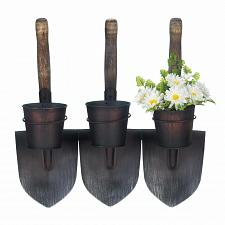 Buy *18418U - 3 Iron/Wood Shovels Plant Pots Wall Planters