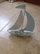 """Buy Wooden Sailboat approximately 14"""" x 12"""" Turquoise Colored Beach Art Sculpture"""