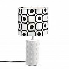 Buy *15649U - Geometric Weave Look Round Ceramic Base Table Lamp Black Dot Shade