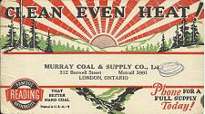 Buy Vintage Ink Blotter Murry Coal Heating Supply Burwell St London ON Canada