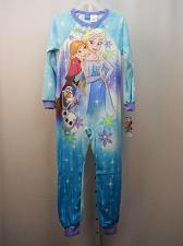 Buy DISNEY FROZEN Girls 1-Piece Sleeper Size M Fleece Zip Front Crew Neck Long Sleev