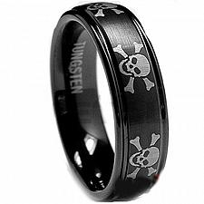 Buy coi Jewelry Black Tungsten Carbide Skull Wedding Band Ring